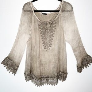 Made In Italy Silk and Lace Ombré Peasant Tunic